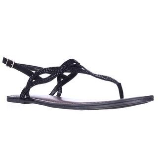 Fergalicious Sylvia Sparkle T-Strap Flat Sandals - Black
