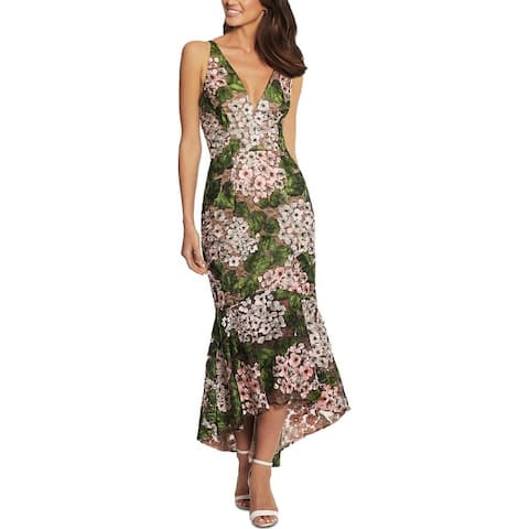 Xscape Womens Evening Dress Lace Embroidered - Green