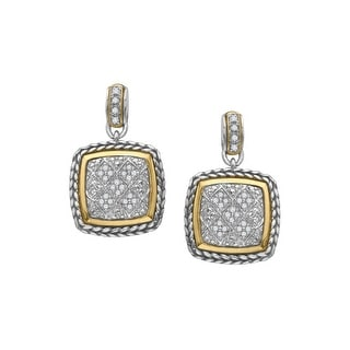 1/4 ct Natural Diamond Cable Drop Earrings in Sterling Silver & 14K Gold