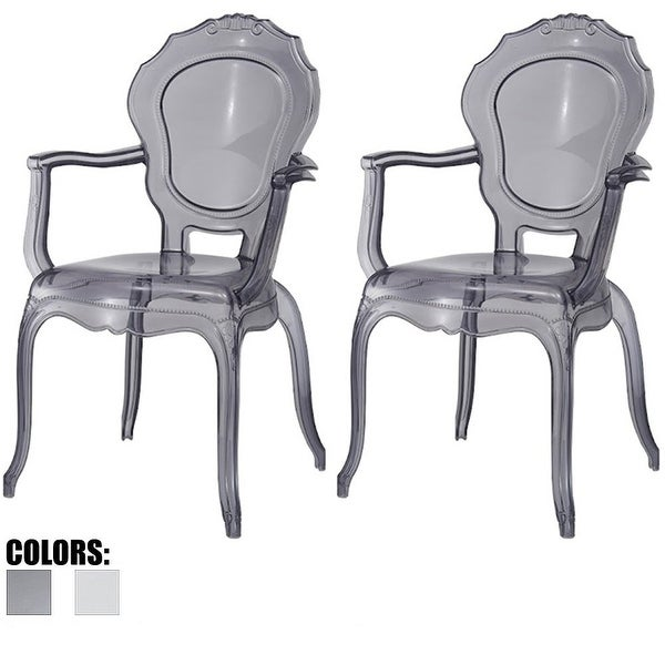Shop 2xhome Set Of 2 Smoke Plastic Dining Chairs With Arms
