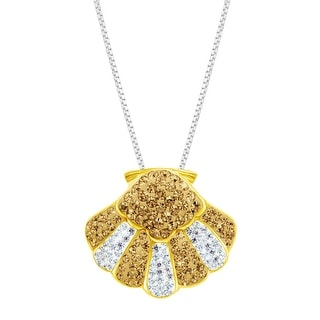 Crystaluxe Seashell Pendant with Swarovski Crystals in 18K Gold-Plated Sterling Silver - Yellow