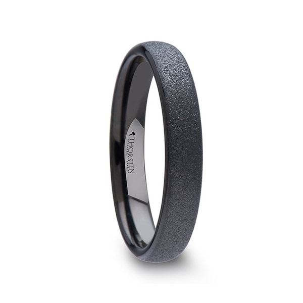 Obsidian Domed Womens Black Tungsten Carbide Ring With Sandblasted Crystalline Finish