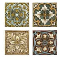 Set of 4 Multi-Colored Italian Inspired Decorative Medallion Wall Tiles