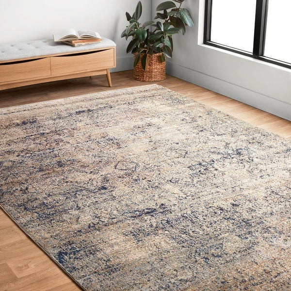 """Traditional Mist/ Blue Distressed Rug - 9'6"""" x 13'"""