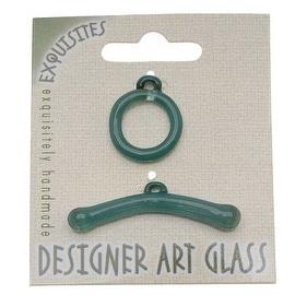 Beadsmith Borosilicate Glass Toggle Clasp - Aqua - 19.5mm (1)