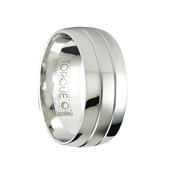 CHARLIE Polished Domed Cobalt Wedding Ring Satin Center with Dual Grooves by Crown Ring - 9mm