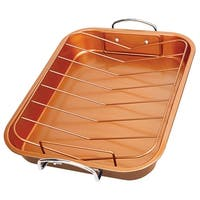 Copper Roasting Pan - Non-stick Turkey Roaster with Removable V-Shaped Rack - 14.6 in. x 11.4 in. x 2.1 in.