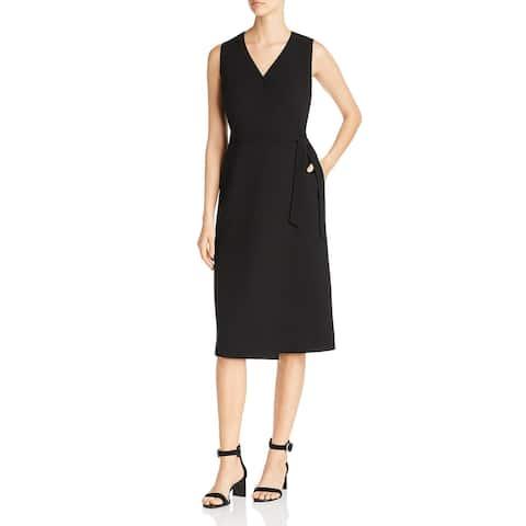 Lafayette 148 New York Womens Pammie Wrap Dress Sleeveless Cocktail - Black