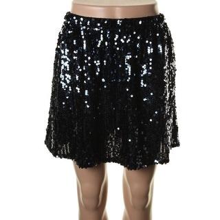 QMack Womens Mesh Sequined Mini Skirt - M