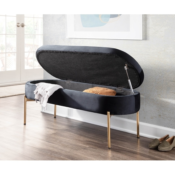 Silver Orchid Flohr Velvet Storage Bench in Gold. Opens flyout.