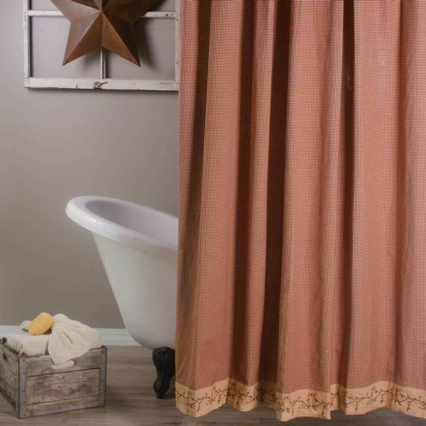 """Cotton Shower Curtain Country Berry Vine Gingham Red 72"""" x 72"""". Opens flyout."""