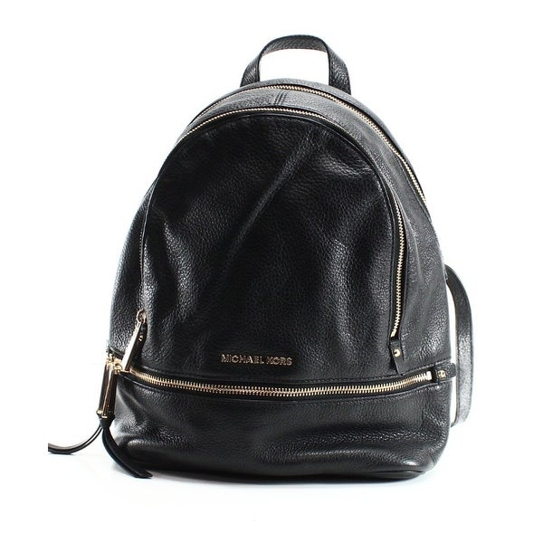 86bd7bd047fa Shop Michael Kors NEW Black Gold Leather Small Rhea Zip Backpack ...