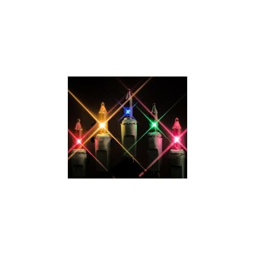 Christmas at Winterland MINI-20-100-6-M 50 Foot String of Multicolor Mini Incandescent Lights with 6 Inch Spacing and Green Wire