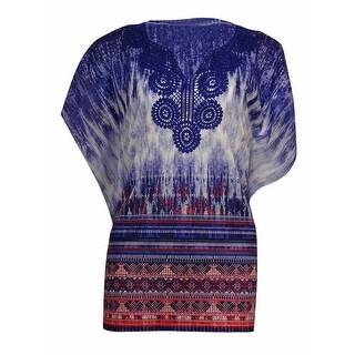 JM Collection Women's Crochet-Trim Fluttered Print Top - deep iris (4 options available)