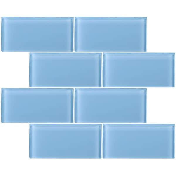 "TileGen. 3"" x 6"" Glass Subway Tile in Light Blue Wall Tile (80 tiles/10sqft.). Opens flyout."