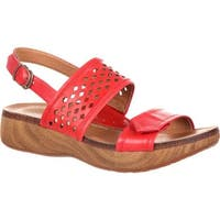4EurSole Women's Sprightly Slingback Sandal Red Leather