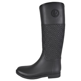 NEW Tory Burch Black Quilted Rubber Marion T Logo Rain Boots Shoes 10