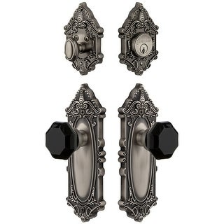 Grandeur GVCLYO_SP_ESET_234  Grande Victorian Solid Brass Rose Single Cylinder Keyed Entry Deadbolt and Knobset Combo Pack with