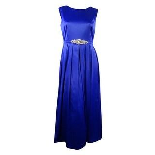 Tahari Women's Formal Embellished Satin Gown - ROYAL - 14