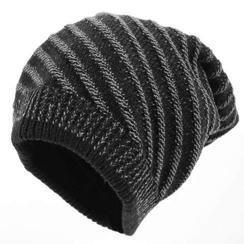 Man Black Textured Stripes Pattern Stretchy Knitted Beanie Hat