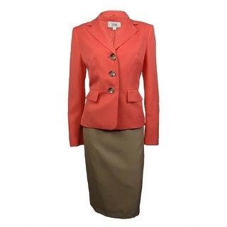 Le Suit Women's Cozumel Three Button Skirt Suit