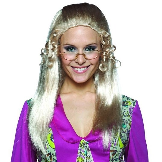 Brady Bunch Tv Show Long Blonde Adult Female Costume Wig - Jan - Yellow