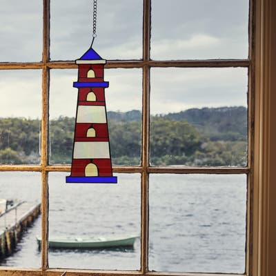 """River of Goods 14.5""""H Nautical Lighthouse Stained Glass Window Panel - 5.25"""" x 0.15"""" x 14.5"""""""