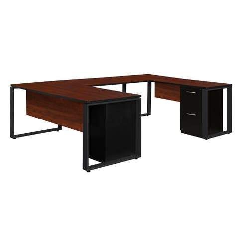 "Structure 66"" x 30"" Double Metal Pedestal U-Desk with 42"" Bridge- Cherry/Black"