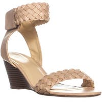 XOXO Sonnie Braided Ankle Strap Wedge Sandals, Blush - 10 us / 42 eu
