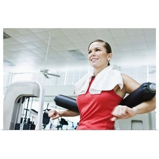 """""""Woman on exercise equipment"""" Poster Print"""