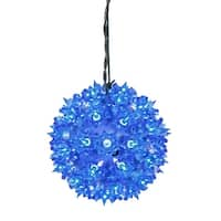 "6"" Blue Lighted Starlight Hanging Sphere Christmas Ball Decoration"