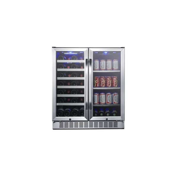 """EdgeStar CWB2886FD 30"""" Wide 28 Bottle Built-In Dual Zone Beverage Center with 86 Can Capacity - Stainless Steel - N/A"""