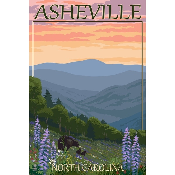 Asheville NC Bear and Cubs with Flowers LP Artwork (Chef's Cotton/Poly Apron)
