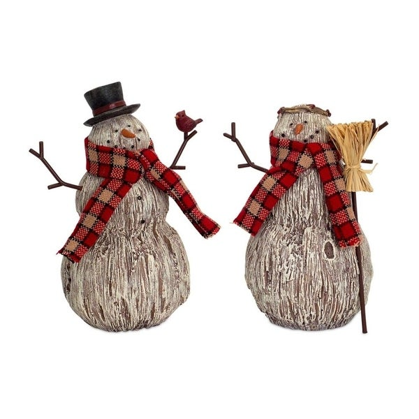 """Set of 6 Rustic Brown and White Snowmen Tabletop Figurines with Red Scarves 7.75"""""""