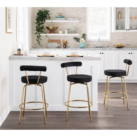 Silver Orchid Caines Glam Counter Stool (Set of 2) - N/A