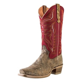 Outlaw Western Boots Mens Stitching Narrow Square Toe Tan Red 60003
