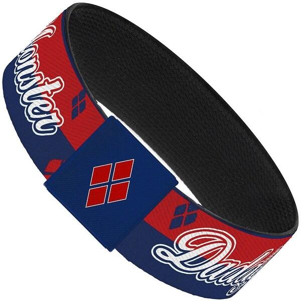 Harley Quinn Daddy's Little Monster Diamonds Stripe Red Blue White Elastic Elastic Bracelet