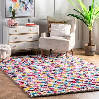 nuLOOM Multi Contemporary Bohemian Inspire Striped Dots Shag Rug