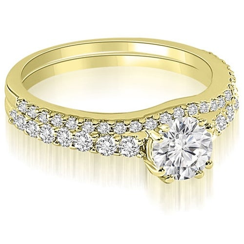 1.29 cttw. 14K Yellow Gold Cathedral Round Cut Diamond Bridal Set