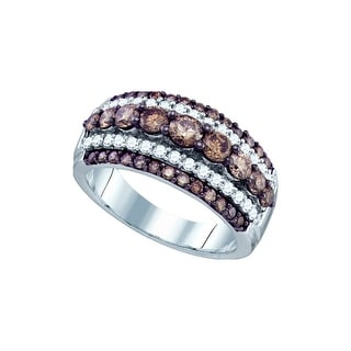 10k White Gold Cognac-brown Colored Round Diamond Womens Fancy Cocktal Luxury Ring 1.55 Cttw - Brown