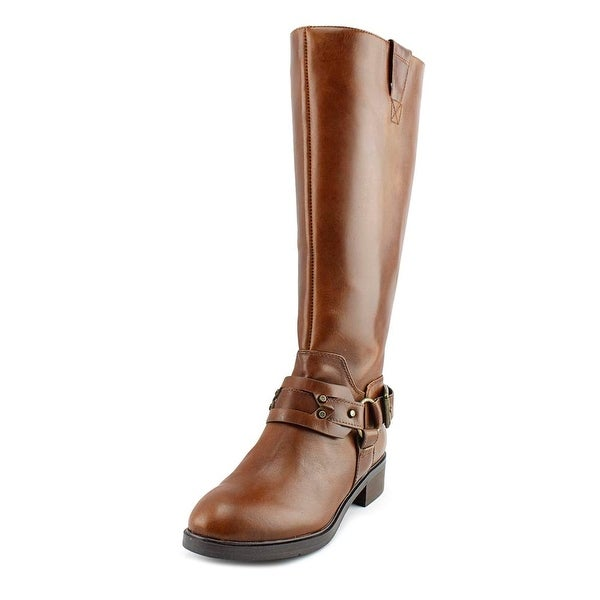 Nine West Jamison Wide Calf Women Round Toe Leather Brown Knee High Boot