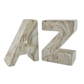 White and Brown Marble Finish Ceramic A to Z Bookend Set - Multicolored