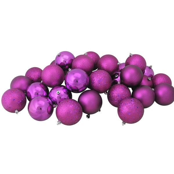 "32ct Shatterproof Light Magenta Pink 4-Finish Christmas Ball Ornaments 3.25"" (80mm)"