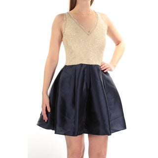 TEEZE ME $89 Womens New 1402 Navy Ivory Lace Fit + Flare Dress 1 Juniors B+B
