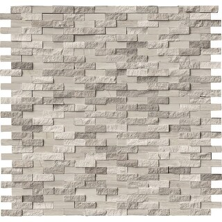 "MSI WHTOAK-SFIL10MM  12"" x 12"" Random Linear Mosaic Wall Tile - Smooth Stone Visual - Sold by Carton (10 SF/Carton)"