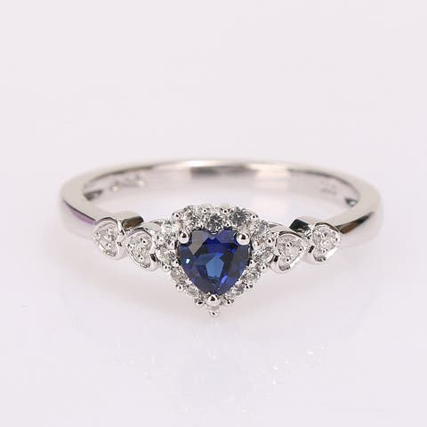 Miadora Sterling Silver Created Blue and White Sapphire Diamond Accent Heart Halo Ring