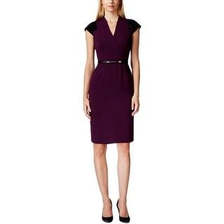 Calvin Klein Womens Wear to Work Dress Faux Suede Trim Cap Sleeves