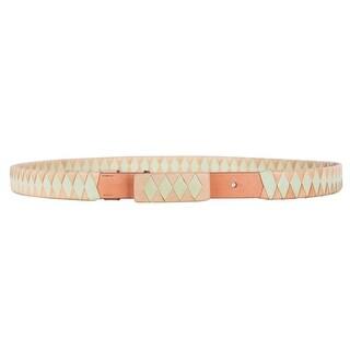 Roberto Cavalli Coral Mint Green Woven Skinny Leather Belt
