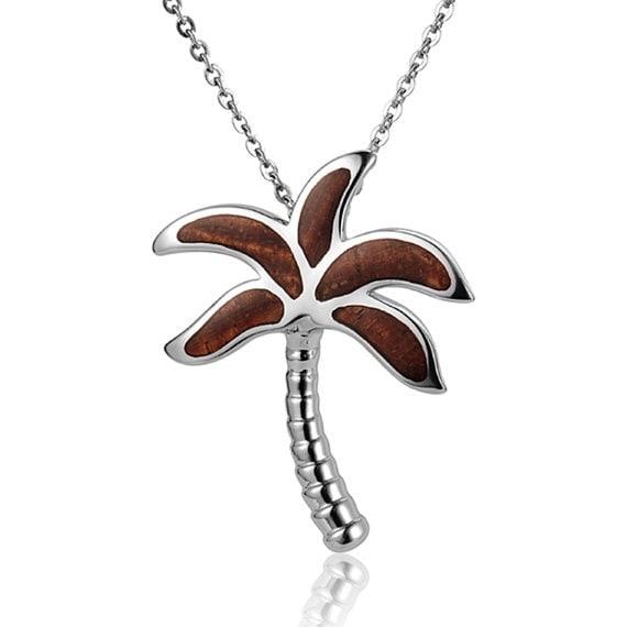 "Palm Tree Necklace Koa Wood Sterling Silver Pendant 18"" Chain"