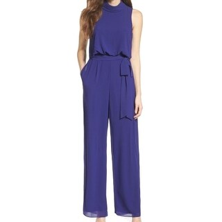 Vince Camuto NEW Purple Womens Size 10 Belted Mock Neck Jumpsuit